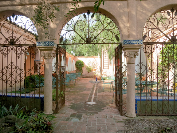 gates from the garden to the courtyard