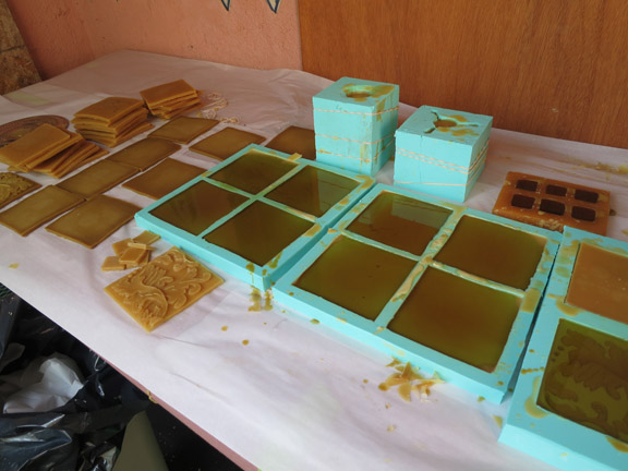 pattern and field tile moulds full of beeswax